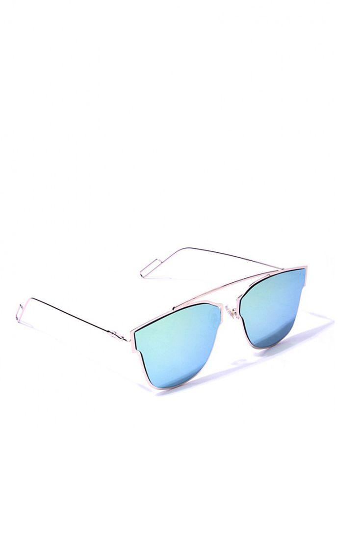 Sleek Thin Light Metal Mirrored Lens Sunglasses