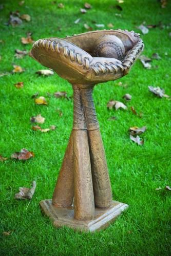 baseball garden statues | Baseball Batter Up Bird Bath Garden Sculpture
