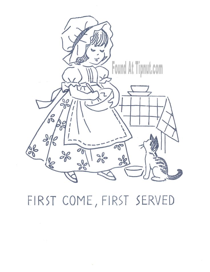 FIRST COME, FIRST SERVED - Kitchen Proverbs Embroidery Pattern (Vintage 1950's)