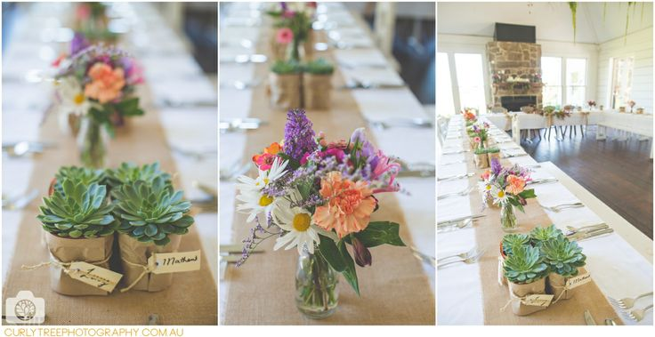 Mindaribba House Wedding Photography  Succulent weddinf favours Multi coloured wild flowers as table decorations. With Hemp.