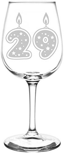29th | Glitter & Stars Birthday Cake Candle Inspired - Laser Engraved Libbey All-Purpose Wine Glass.  Fast Free Shipping & 100% Satisfaction Guaranteed.  The Perfect Gift!