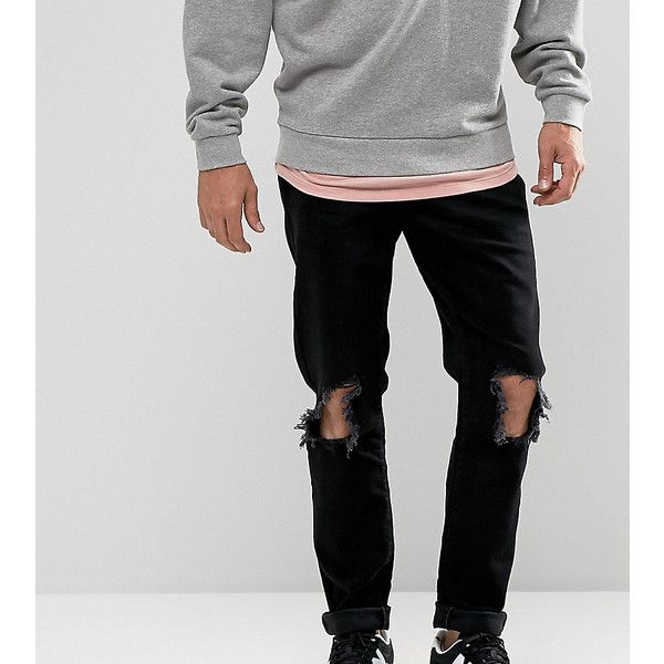 Brooklyn Supply Co Slim Jeans Jet Black Knee Rips ($61) ❤ liked on Polyvore featuring men's fashion, men's clothing, men's jeans, black, mens slim fit ripped jeans, mens slim cut jeans, mens distressed jeans, mens super skinny ripped jeans and mens slim jeans