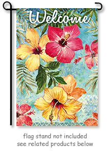 "Watercolor Hibiscus  Garden Flag from Evergreen's Suede Reflection Collection by artist Elena Vladykina.  Size: 12.5"" x 18""  @justforfunflags"