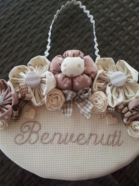 """the creations of antonella: OTHER DIETROPORTA """"WELCOME"""" APPLIED WITH FLOWERS"""