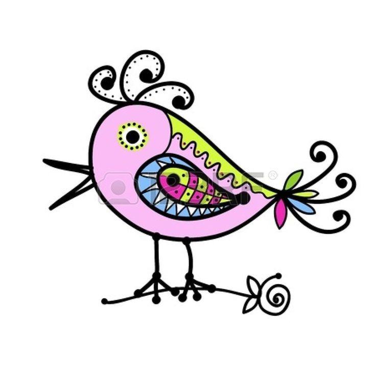 Schets van grappige kleurrijke vogel voor uw ontwerp Stockfoto