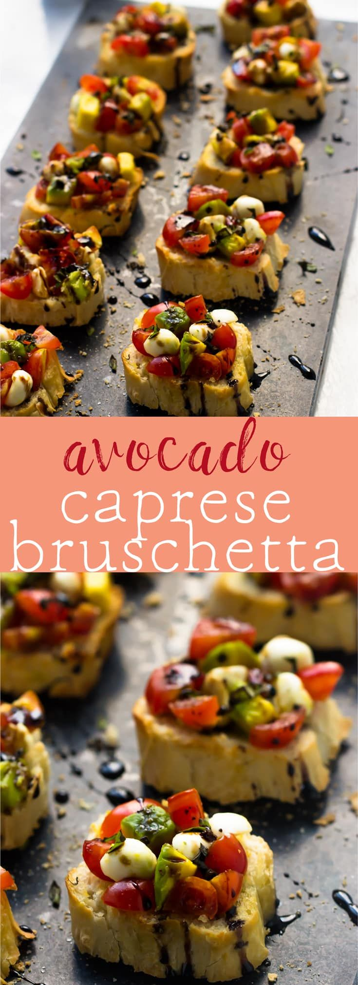 This 10 minute Avocado Caprese Bruschetta makes for the perfect quick appetiser that's always a crowd pleaser! via http://jessicainthekitchen.com