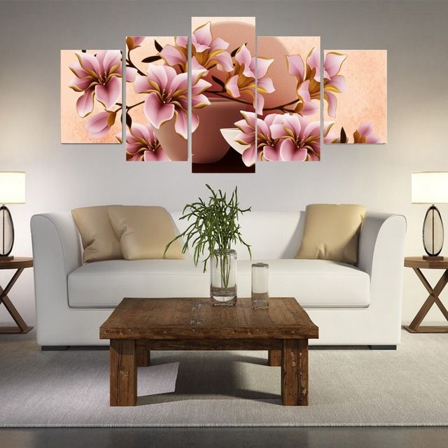 5 Pieces Canvas Art Modern Canvas Painting Pink Orchid Home Decor Canvas Prints Wall Art Pa Modern Canvas Painting Wall Painting Flowers Flower Painting Canvas
