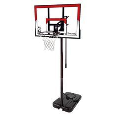 Spalding NBA 44 Polycarbonate Portable Basketball Hoop, Black