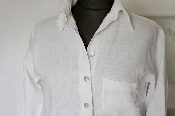 White linen blouse Elegant white linen shirt for women Linen