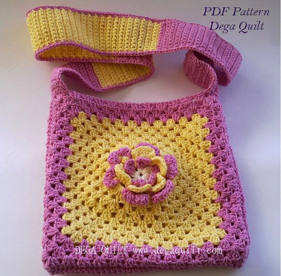 Crochet pattern  Flower bag for little girls by DegaQuilt on Etsy, $5.20