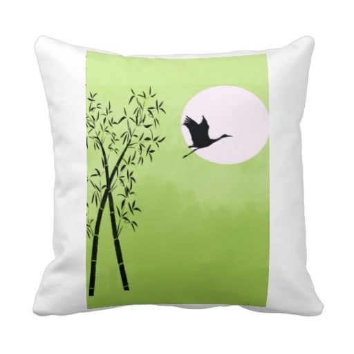 Flying crane - green throw pillows