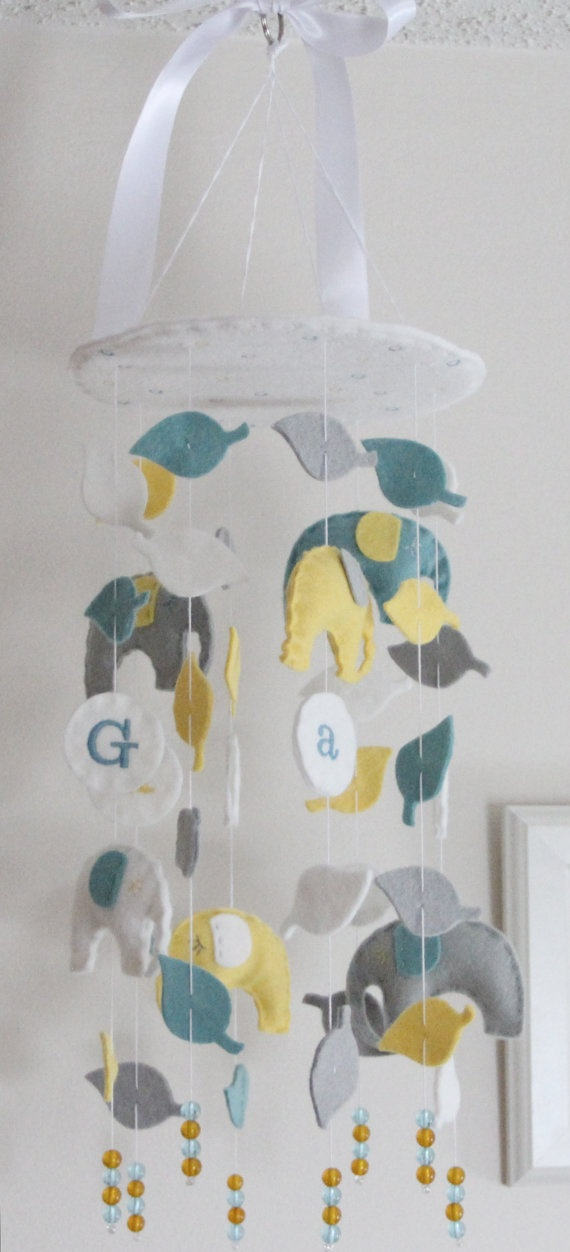 Elephant Baby Mobile by aprilderek.This would be a great DIY!