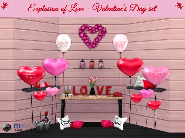 Righthearted S Explosion Of Love Valentine S Day Set Sims 4 Sims Valentines