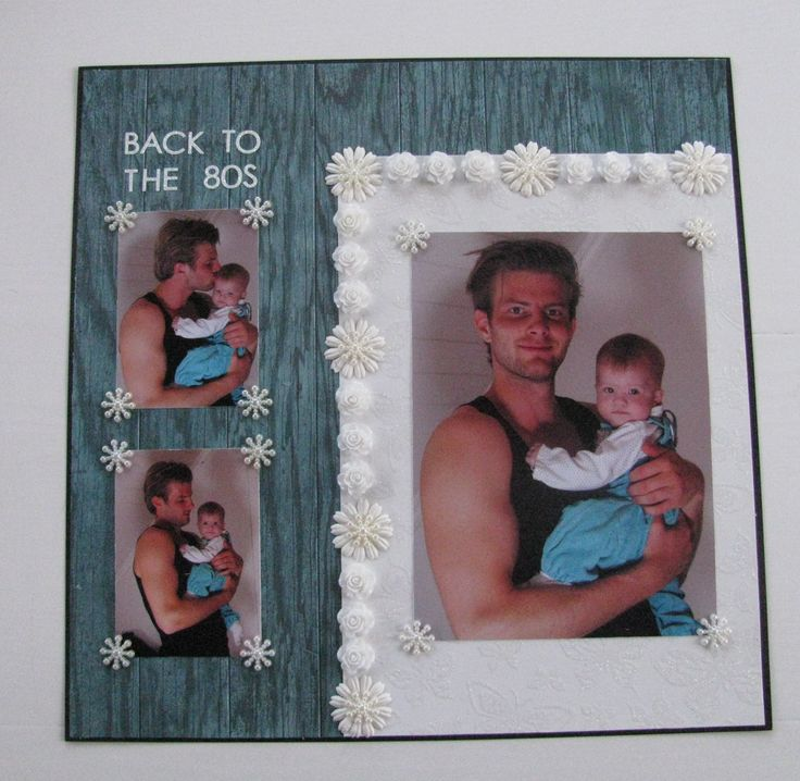 """Scrapbook page: """"Back to the 80s""""                     #flowers #blue #white #black #oldschool #scrapbook #page"""