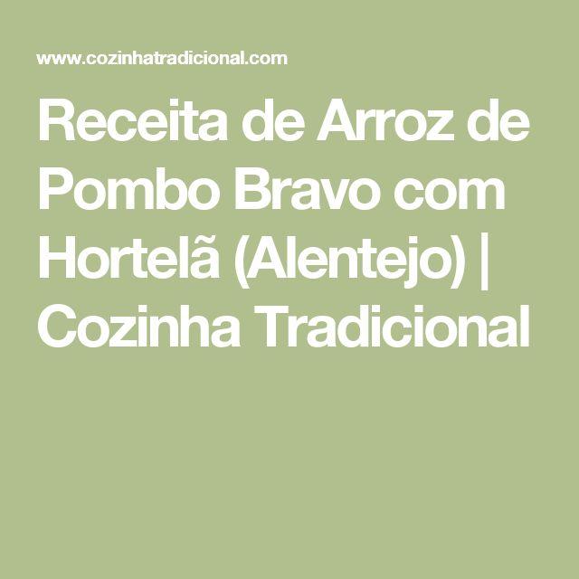 Receita de Arroz de Pombo Bravo com Hortelã (Alentejo)   Cozinha Tradicional
