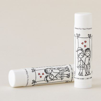 Lovers on a Swing Doodles Wedding Personalized Lip Balm - home gifts ideas decor special unique custom individual customized individualized