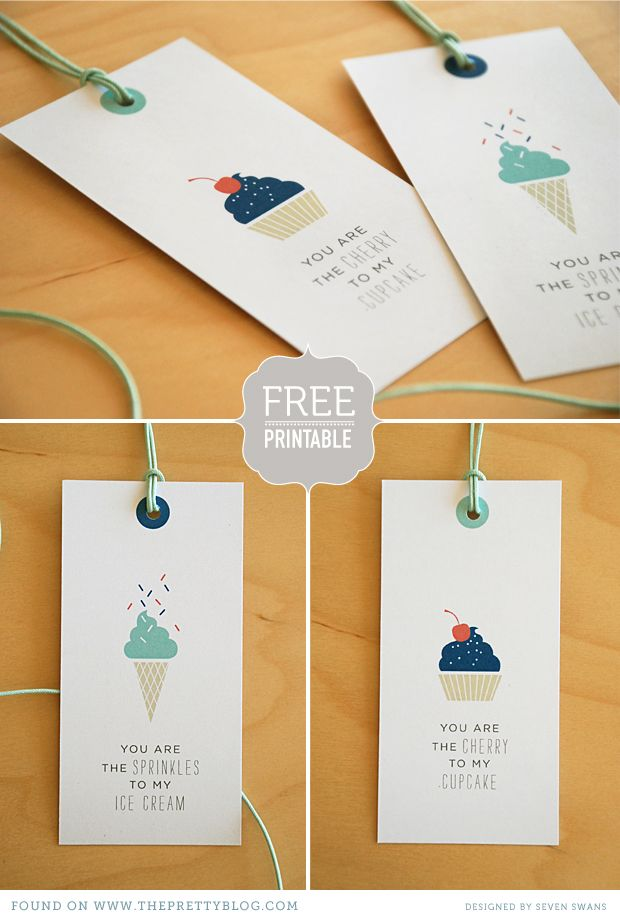 Free printable tags that would be cute to attach to a box a cupcakes or an ice cream cone kit.