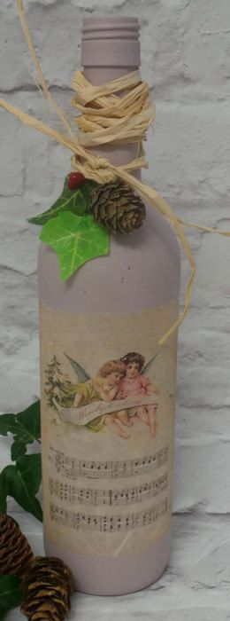 Christmas Decoupage Bottle, Table Centerpiece, Christmas Wine Bottles, Decoupage Candle Holder, Painted Glass Bottles, Christmas Centerpiece - pinned by pin4etsy.com
