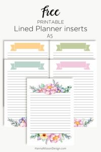Lined floral planner inserts | Free printable download | A5 planner | Personal Filofax | #freeprintables #planner #A5 #printables #filofax