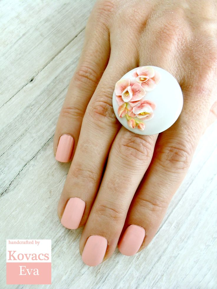 White porcelain ring with handmade orchid. Orchid ring.Pink white ring.Flowered ring.
