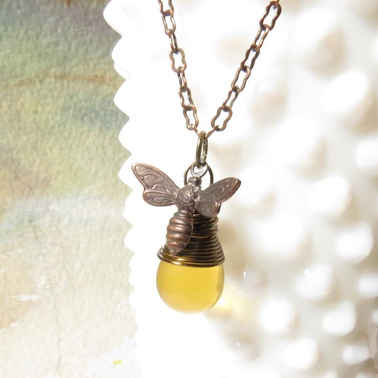 Small Bee Necklace, Everyday Necklace, Honey Bee Jewelry, Honey Bee necklace, Bee Necklace Gift, Wire Wrapped Antiqued Brass Pendant by LunaJewelry on Etsy https://www.etsy.com/listing/176884575/small-bee-necklace-everyday-necklace