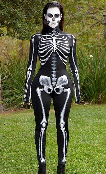 Kim Kardashian Skeletor! The Keeping Up With the Kardashians star donned a tight black body suit with white skeleton paint.