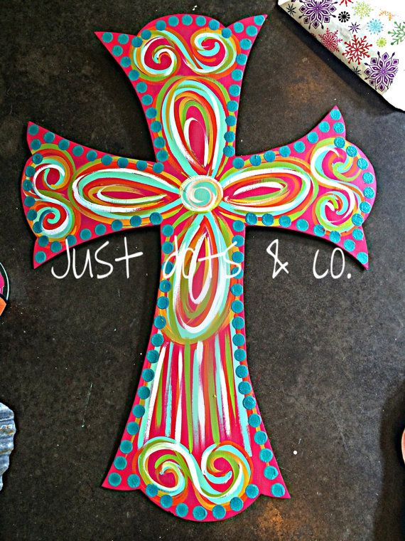 Large Cross Door Hanger / summer door hanger by JustDotsCo on Etsy
