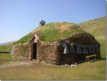A reconstruction of Erik the Red's house in Iceland (Erik the Red lived about 1000 years ago).