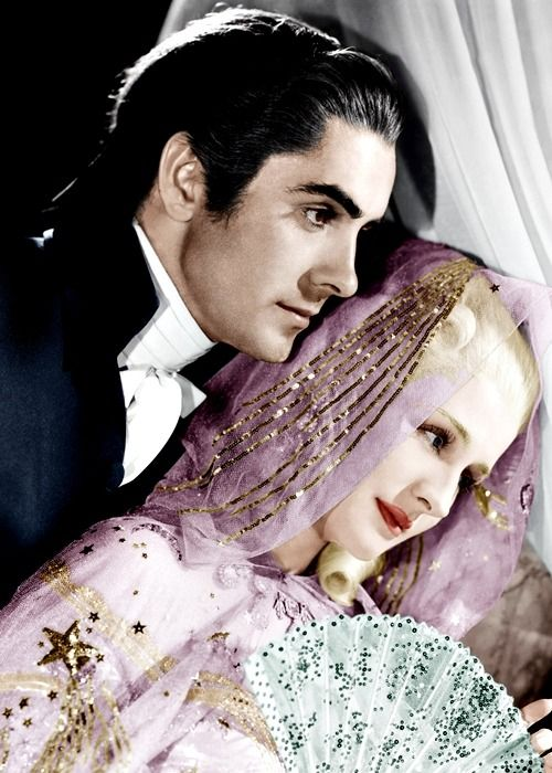 """Beautiful color photo of Norma Shearer with Tyrone Power for """"Marie Antoinette"""""""