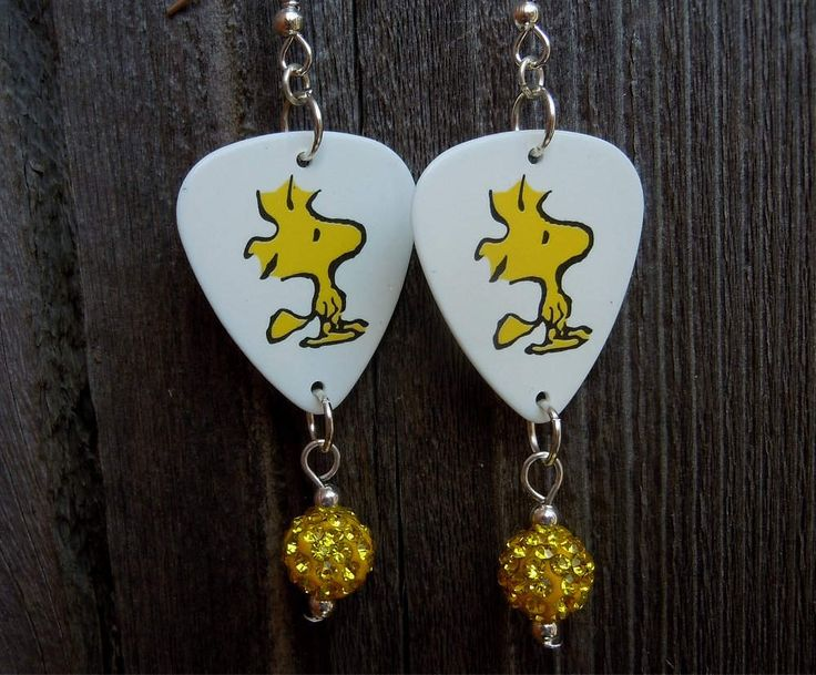 Woodstock Guitar Pick Earrings with Yellow Pave Bead Dangles by ItsYourPickToo on Etsy