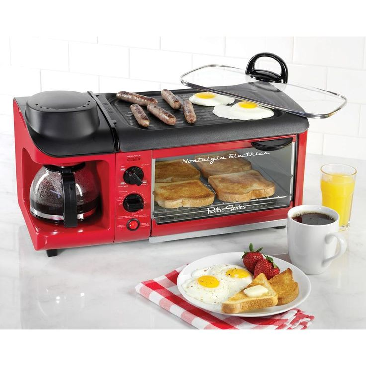 Retro Series 4-Slice 3-in-1 Breakfast Station Toaster in Red