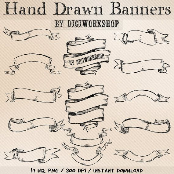 Hand Drawn banners clipart  Hand Drawn Banners set by DigiWorkshop, $4.80