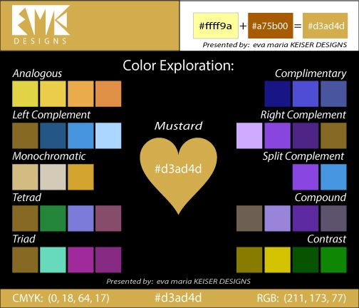 Eva Maria Keiser Designs: Explore Color:  Mustard (#d3ad4d)