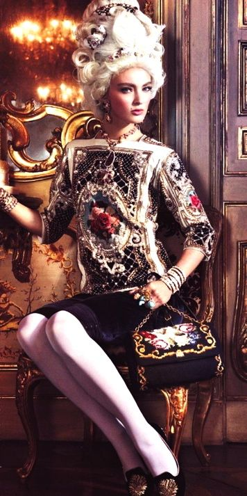 Baroque Fashion / Balmain Embroided Top & Skirt / Dolce & Gabbana Bag / Vogue