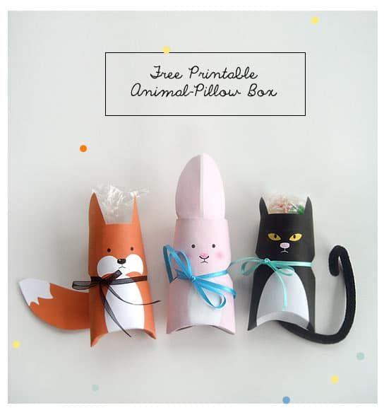 Tier-Pillow-Boxes schnell selber gemacht aus Klorollen und beklebt mit Gratis-Il…