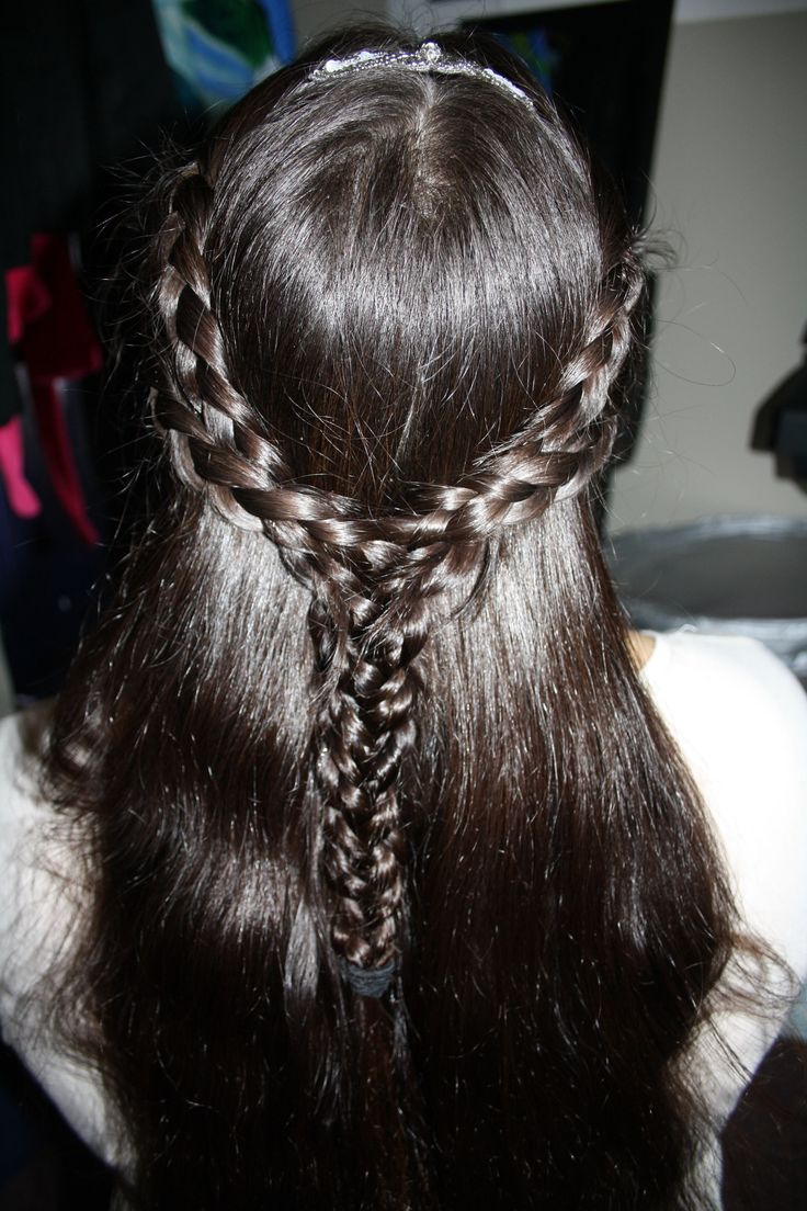 'Reign' inspired 4 strand braid w American Eagle headband. (Back View)