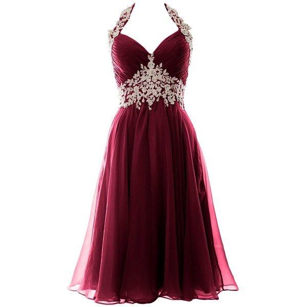 MACloth Women Halter Lace Chiffon Short Prom Dress Formal Evening Ball...  ($109