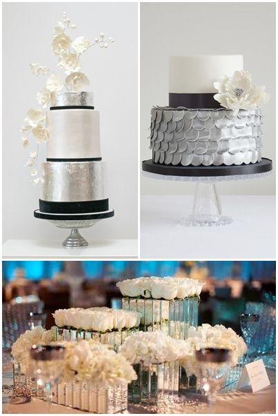 Pasteles de bodas en plateado   Bolos de casamento em prata   Silver wedding cakes