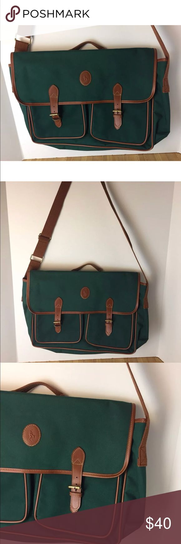 Polo Ralph Lauren Vintage Carry Bag Travel A4 Vintage POLO RALPH LAUREN Green Canvas Travel Bag Satchel   Great briefcase buckle style laptop carry bag  EUC   Immediate shipping upon payment Ralph Lauren Bags Laptop Bags