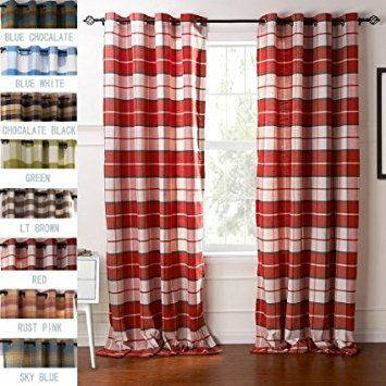 FirstHomer HOME Collection Premium Country Classic Check Plaid Cotton - Nickle Grommet/Eyelet - Blackout Lined - Curtain Panel Drapes ( 1 Panel ) Red 50Wx84L Inch