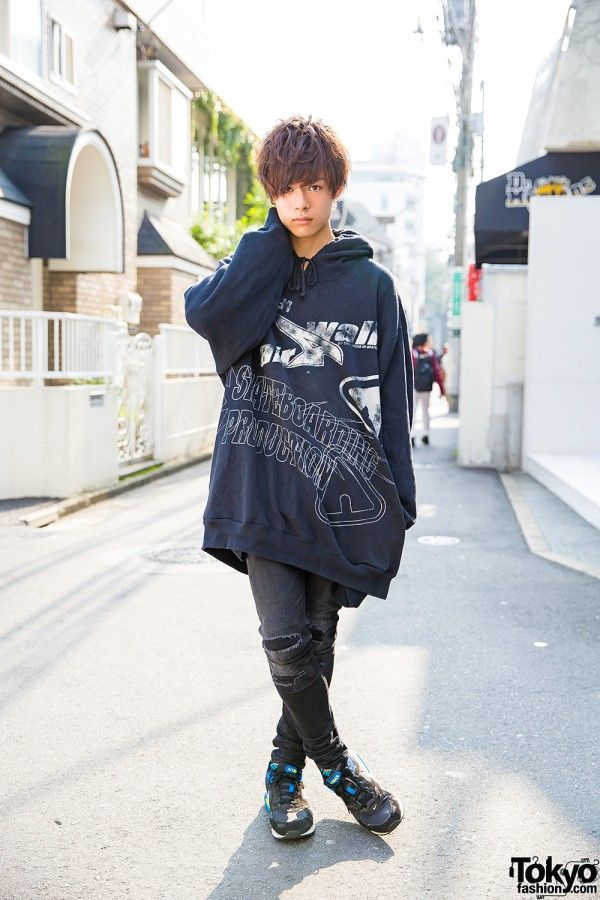 Harajuku Guy in Oversized Hoodie, Ripped Jeans, Sneakers & WEGO Accessories (Tokyo Fashion, 2015)