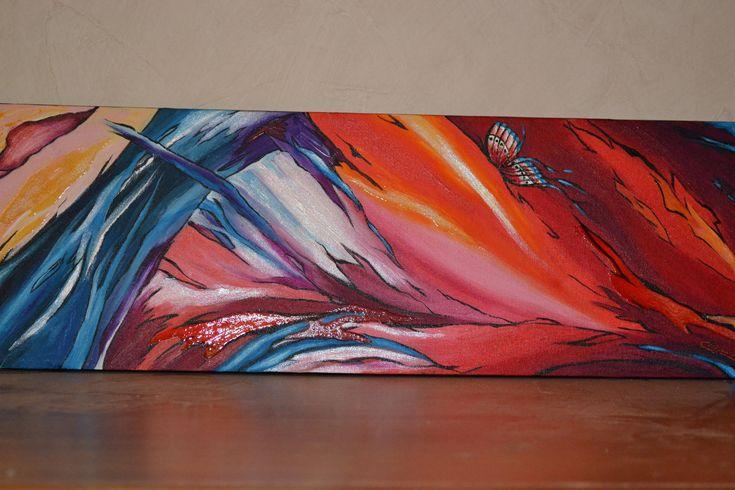 """Tableau acrylique contemporain, moderne """"Concrétions et papillon"""", Peinture Opale Isis, sur Etsy de la boutique OpaleIsis sur Etsy"""