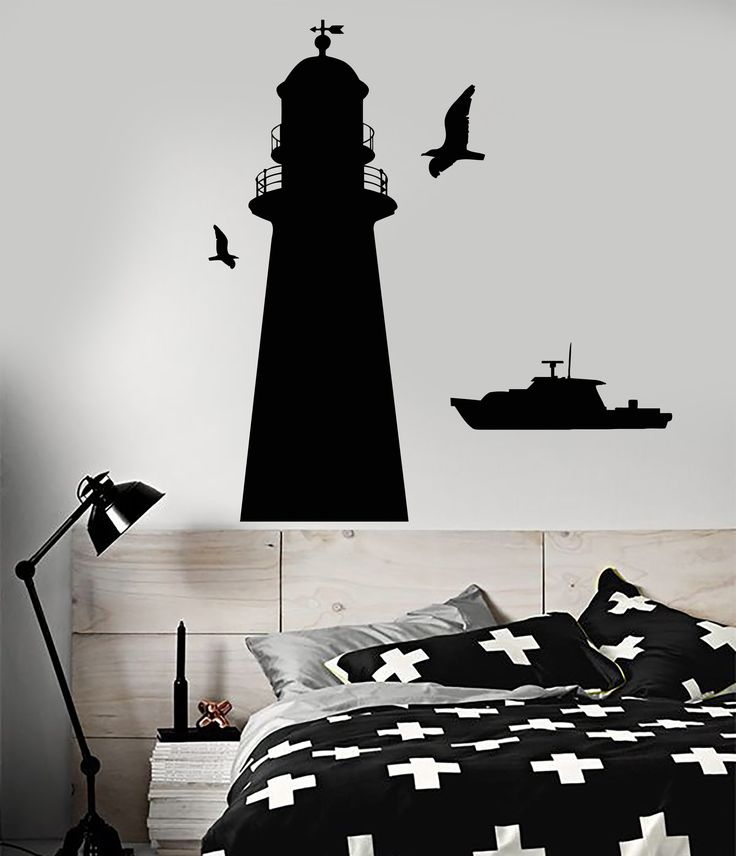 Vinyl Wall Decal Lighthouse Ship Boat Sea Style Naval Police Stickers (1743ig)