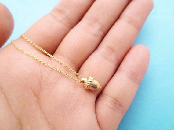 Tiny Gold Acorn Necklace Cute Minimal Dainty by giftjewelryshop