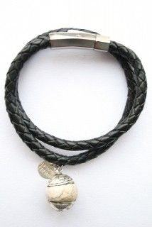 Double Wrap Braided Leather with Howlite and Silver Pendant. Unisex Armband from Heaven Eleven available from www.eastern-elements.com.au
