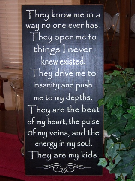 They Are My Kids Quote Wood Sign, Subway Art, Typography Sign Home Decor. $62.95, via Etsy.
