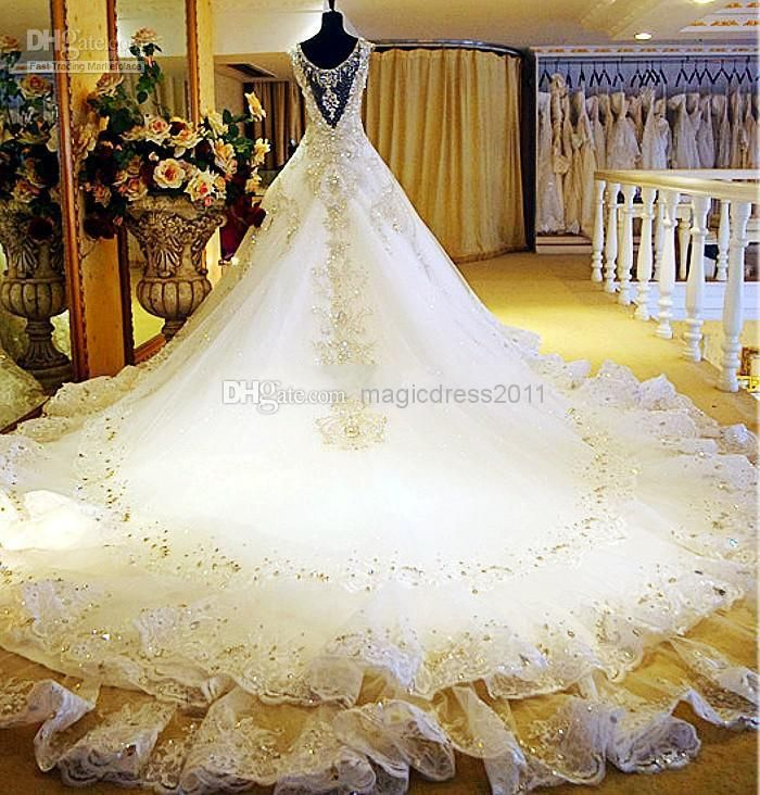 Wholesale Crystal Beaded - Buy 2015 Sexy Luxury Gorgeous V-Neck Crystal Beads Appliques Hollow Backless Ball Gown Plus Size Wedding Dresses Wedding Gown 2014, $347.41 | DHgate.com
