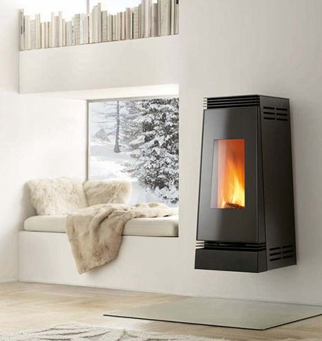 Wall mounted wood burner... cosy window seat, books, what more do you want?