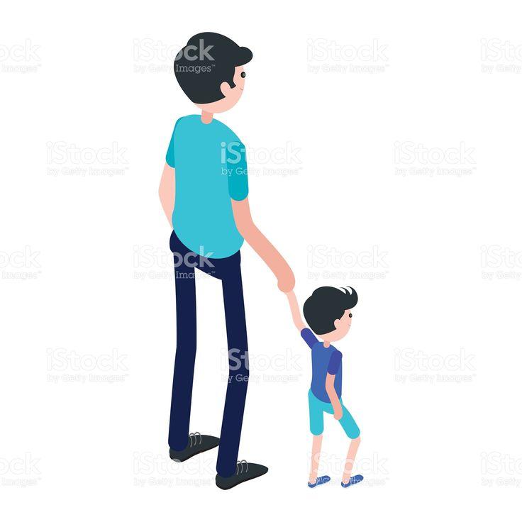 Isometrici uomo e bambino. Illustrazione 93018843 - iStock