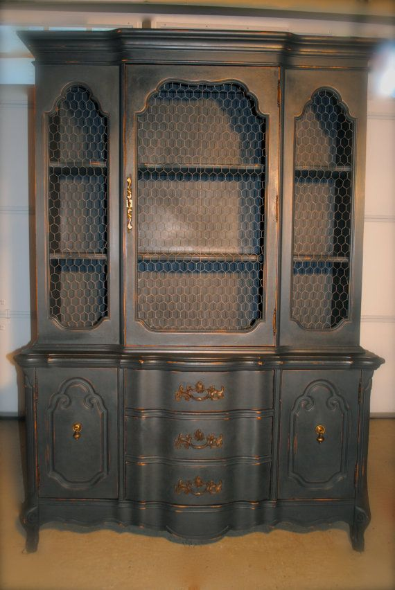 Antique Distressed China Cabinet With By